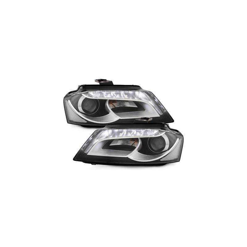 phares audi a3 8p noir halog ne avec feux led 2009 2014. Black Bedroom Furniture Sets. Home Design Ideas