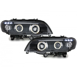 Phares BMW X5 99-03 E53 Angel Eyes Noir
