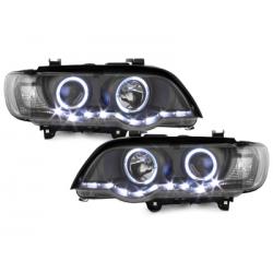 Phares avec feux de jour BMW X5 99-03 E53 2 SLR Noir