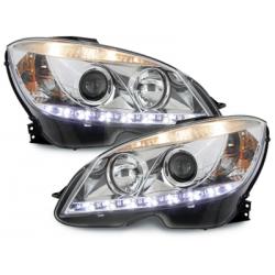 Phares avec feux diurnes Mercedes Benz C-Klasse W204 07-12 Chrome