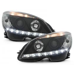Phares avec feux diurnes Mercedes Benz C-Klasse W204 07-12 Noir