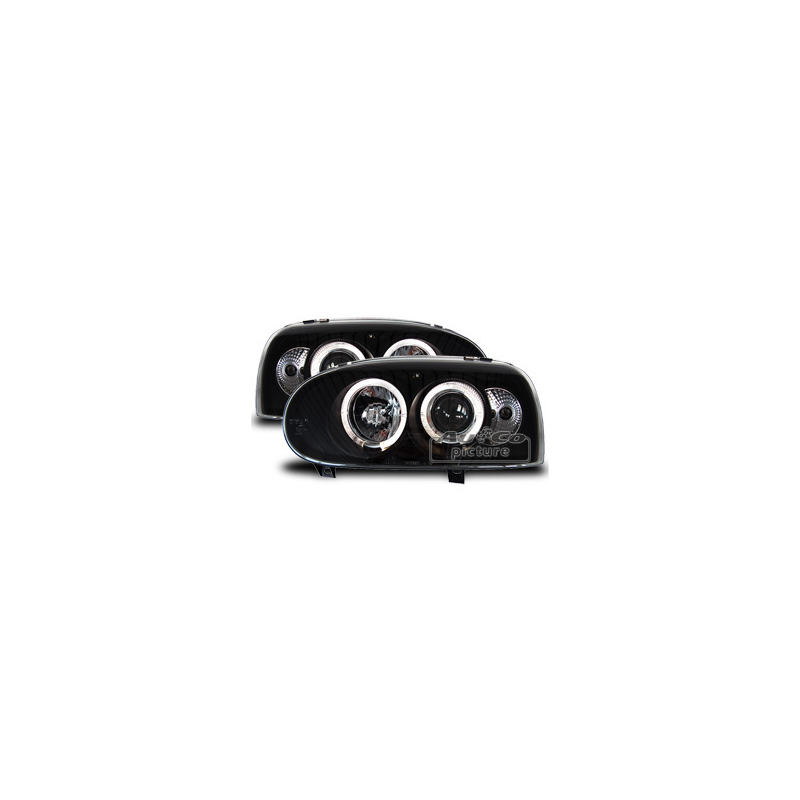 headlights with 2 angel eyes vw golf 3. Black Bedroom Furniture Sets. Home Design Ideas