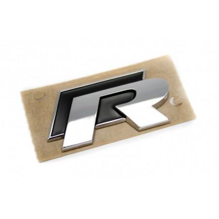 """Logo insigne """"R"""" Chrome et Noir autocollant"""